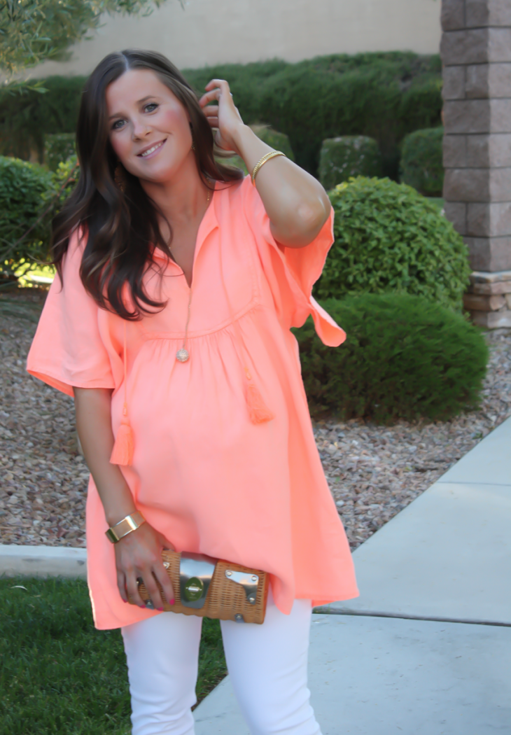 Coral Linen Tunic, White Skinny Jeans, Tan Wedge Sandals, Basket Clutch, J.Crew, J Brand, Seychelles, Kate Spade 12