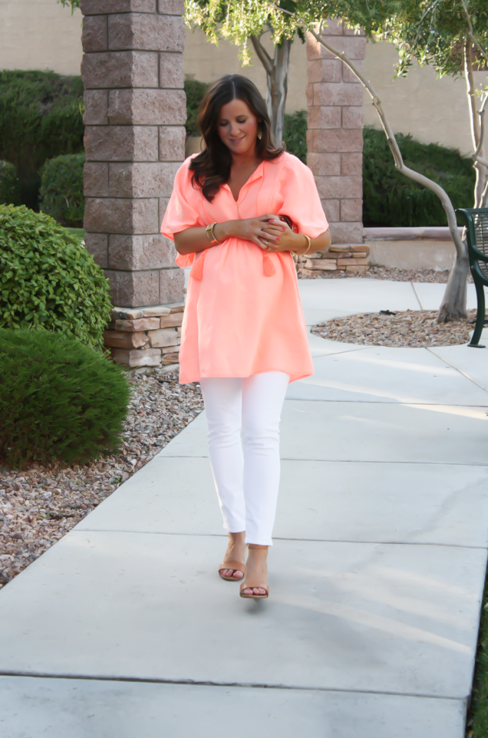 Coral Linen Tunic, White Skinny Jeans, Tan Wedge Sandals, Basket Clutch, J.Crew, J Brand, Seychelles, Kate Spade 13