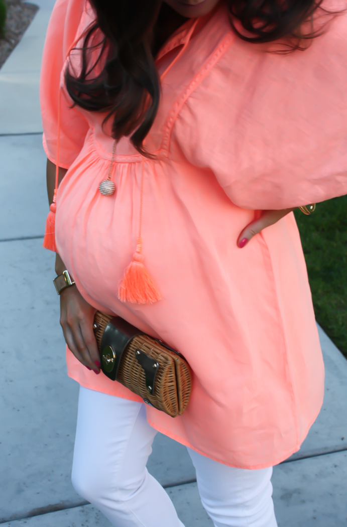 Coral Linen Tunic, White Skinny Jeans, Tan Wedge Sandals, Basket Clutch, J.Crew, J Brand, Seychelles, Kate Spade 15