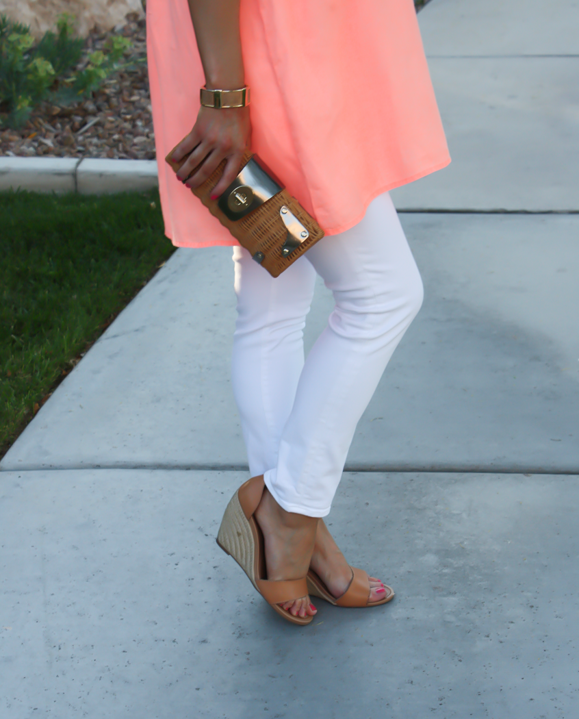 Coral Linen Tunic, White Skinny Jeans, Tan Wedge Sandals, Basket Clutch, J.Crew, J Brand, Seychelles, Kate Spade 16