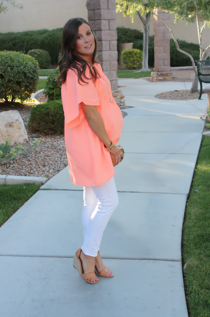 Coral Linen Tunic, White Skinny Jeans, Tan Wedge Sandals, Basket Clutch, J.Crew, J Brand, Seychelles, Kate Spade 3