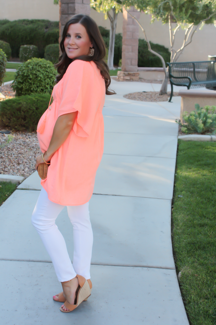 Coral Linen Tunic, White Skinny Jeans, Tan Wedge Sandals, Basket Clutch, J.Crew, J Brand, Seychelles, Kate Spade 7