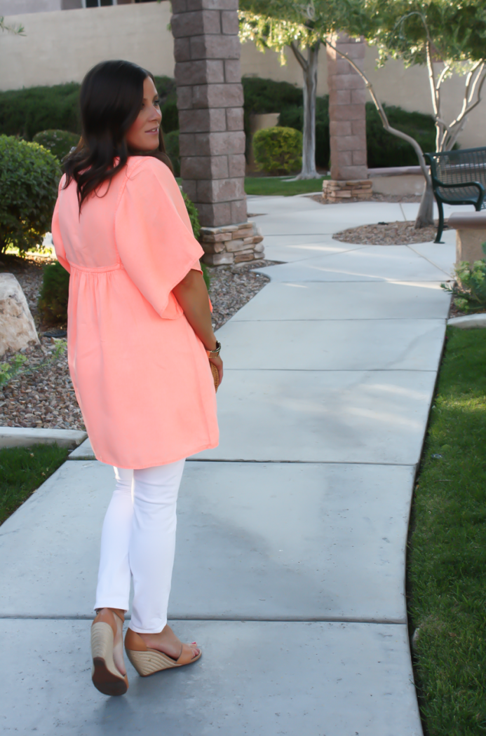 Coral Linen Tunic, White Skinny Jeans, Tan Wedge Sandals, Basket Clutch, J.Crew, J Brand, Seychelles, Kate Spade 8