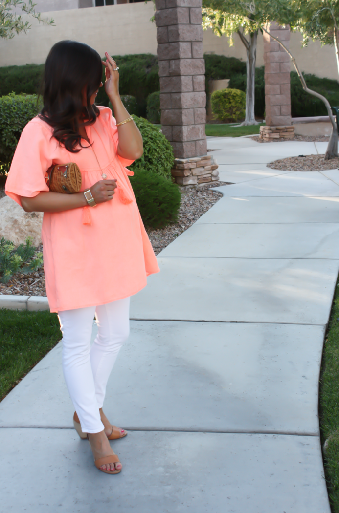 Coral Linen Tunic, White Skinny Jeans, Tan Wedge Sandals, Basket Clutch, J.Crew, J Brand, Seychelles, Kate Spade 9