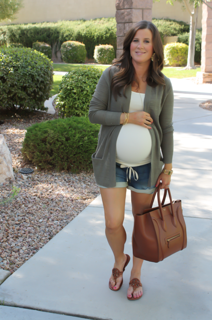 Green Open Cardigan, Denim Jogger Shorts, Ivory Tank Top, Brown Leather Sandals, Brown Leather Bag, Loft, Lou and Grey, Joe's Jeans, Old Navy, Tory Burch, Celine 2