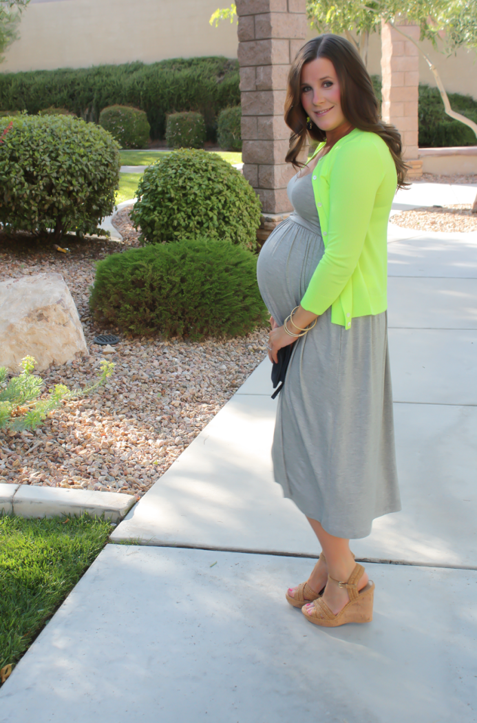 Grey Midi Dress, Neon Green Cashmere Cardi, Tan Raffia Wedges, Navy and Neon Green Statement Earrings, Navy Foldover Clutch, Loft, J.Crew, Stuart Weitzman, Clare V 11