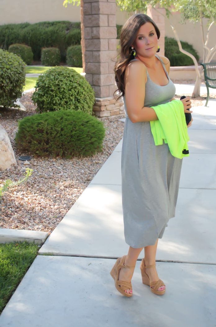 Grey Midi Dress, Neon Green Cashmere Cardi, Tan Raffia Wedges, Navy and Neon Green Statement Earrings, Navy Foldover Clutch, Loft, J.Crew, Stuart Weitzman, Clare V