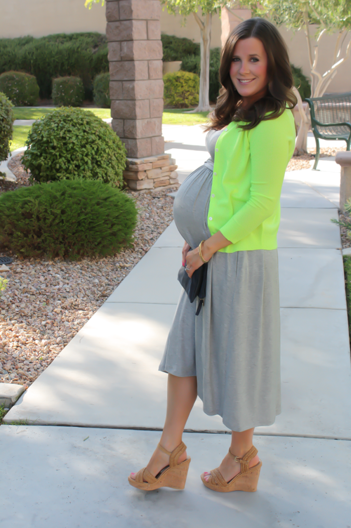Grey Midi Dress, Neon Green Cashmere Cardi, Tan Raffia Wedges, Navy and Neon Green Statement Earrings, Navy Foldover Clutch, Loft, J.Crew, Stuart Weitzman, Clare V 9
