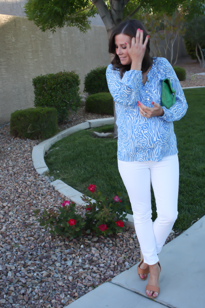 Light Blue Print Silk Blouse, White Skinny Ankle Jeans, Leather Tan Wedge Sandal, Green Leather Foldover Clutch, Lilly Pulitzer, J Brand, Seychelles, Clare V 4