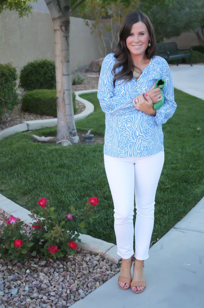 Light Blue Print Silk Blouse, White Skinny Ankle Jeans, Leather Tan Wedge Sandal, Green Leather Foldover Clutch, Lilly Pulitzer, J Brand, Seychelles, Clare V 6