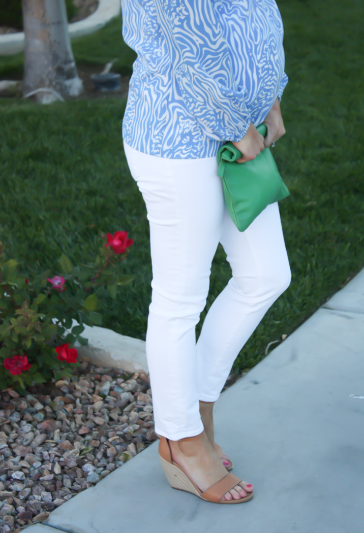 Light Blue Print Silk Blouse, White Skinny Ankle Jeans, Leather Tan Wedge Sandal, Green Leather Foldover Clutch, Lilly Pulitzer, J Brand, Seychelles, Clare V 7