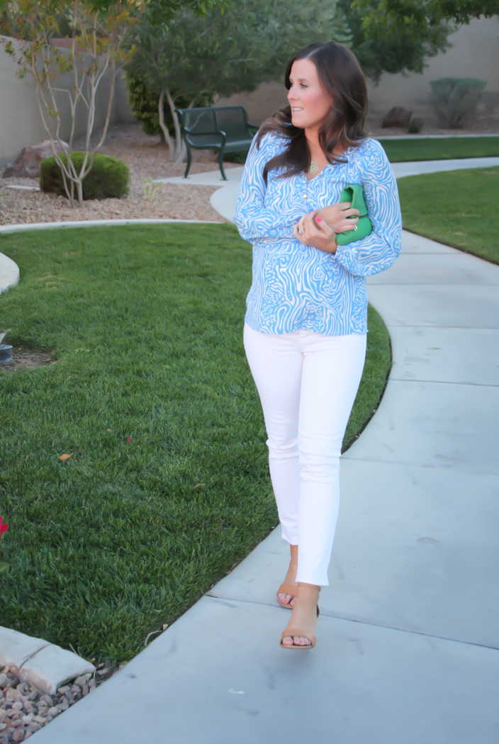 Light Blue Print Silk Blouse, White Skinny Ankle Jeans, Leather Tan Wedge Sandal, Green Leather Foldover Clutch, Lilly Pulitzer, J Brand, Seychelles, Clare V 8