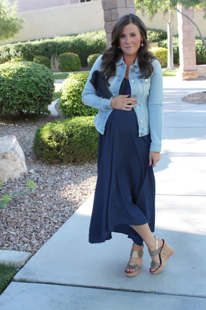 Navy Maxi Dress, Light Wash Denim Jacket, Platinum Wedge Sandals, Navy Leather Foldover Clutch, Pink Stitch, Shopbop, J.Crew, Tory Burch, Clare V 21