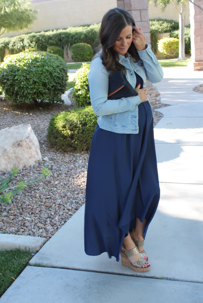 Navy Maxi Dress, Light Wash Denim Jacket, Platinum Wedge Sandals, Navy Leather Foldover Clutch, Pink Stitch, Shopbop, J.Crew, Tory Burch, Clare V 4