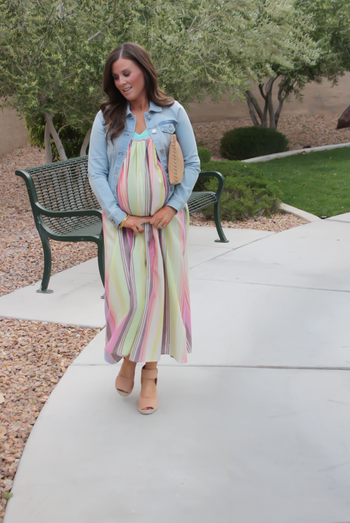 Striped Linen Dress, Light Wash Denim Jacket, Tan Espadrilles, Tan Clutch, Mara Hoffman, Vince, J.Crew 10