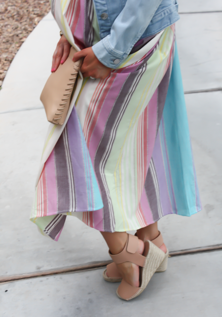 Striped Linen Dress, Light Wash Denim Jacket, Tan Espadrilles, Tan Clutch, Mara Hoffman, Vince, J.Crew 16