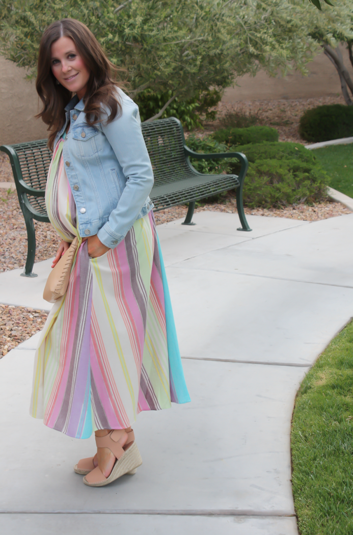 Striped Linen Dress, Light Wash Denim Jacket, Tan Espadrilles, Tan Clutch, Mara Hoffman, Vince, J.Crew 22
