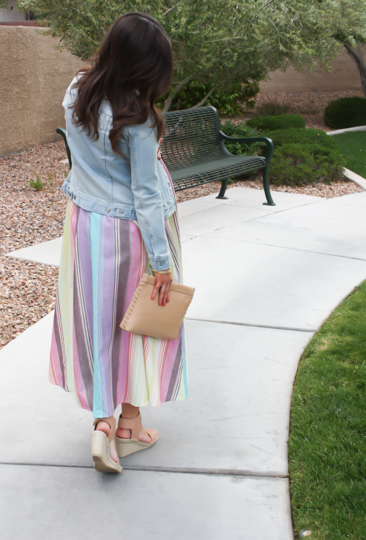 Striped Linen Dress, Light Wash Denim Jacket, Tan Espadrilles, Tan Clutch, Mara Hoffman, Vince, J.Crew 3