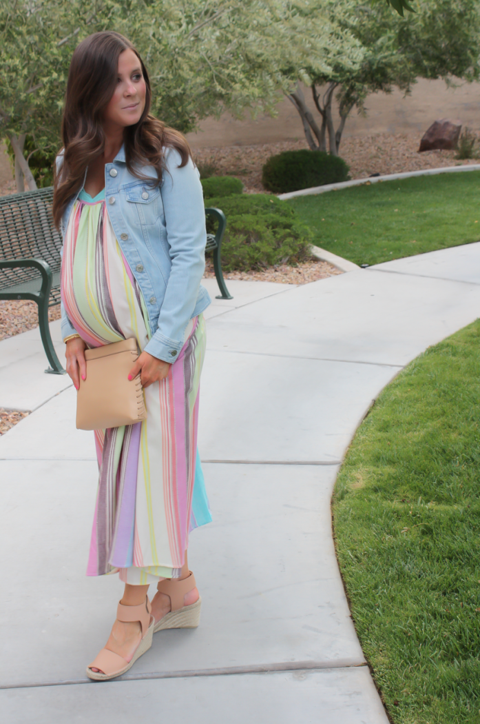 Striped Linen Dress, Light Wash Denim Jacket, Tan Espadrilles, Tan Clutch, Mara Hoffman, Vince, J.Crew24