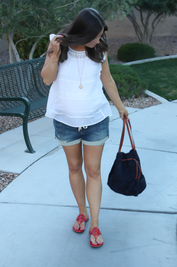 White Flutter Sleeve Blouse, Denim Jogger Shorts, Patent Red Sandals, Navy Straw Bucket Bag, Loft, Joe's Jeans, Tory Burch, Mar Y Sol 2