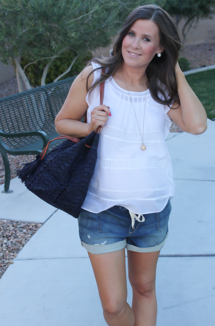 White Flutter Sleeve Blouse, Denim Jogger Shorts, Patent Red Sandals, Navy Straw Bucket Bag, Loft, Joe's Jeans, Tory Burch, Mar Y Sol 3
