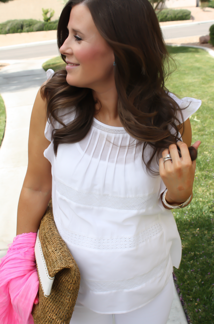 White Flutter Sleeve Blouse, Distressed White Cropped Skinny Jeans, Metallic Gold Sandals, Hot Pink Summer Scarf, White Leather Basket Clutch, Loft, J Brand, J.Crew, Michael Kors 15