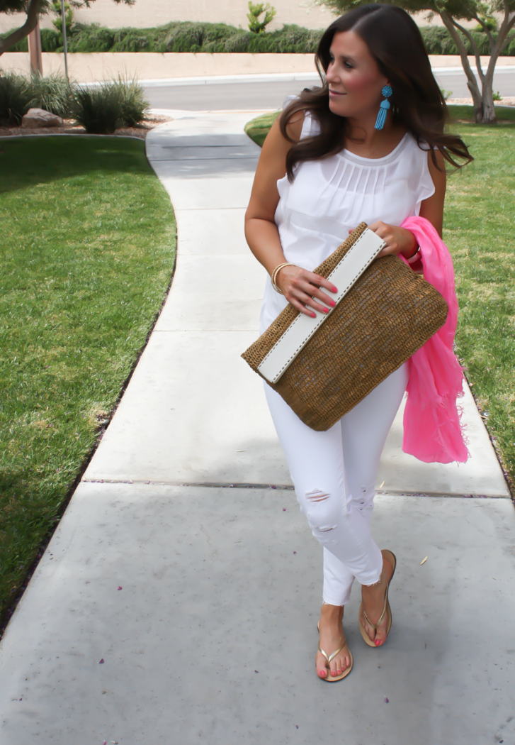 White Flutter Sleeve Blouse, Distressed White Cropped Skinny Jeans, Metallic Gold Sandals, Hot Pink Summer Scarf, White Leather Basket Clutch, Loft, J Brand, J.Crew, Michael Kors 3
