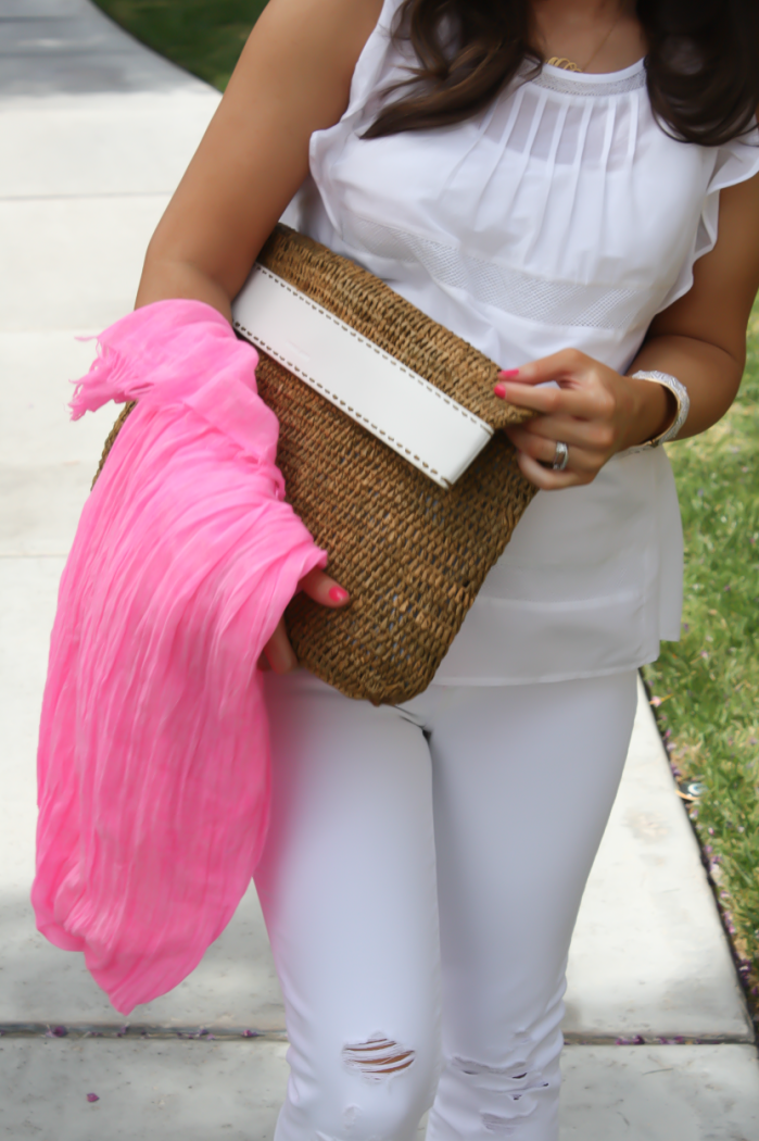 White Flutter Sleeve Blouse, Distressed White Cropped Skinny Jeans, Metallic Gold Sandals, Hot Pink Summer Scarf, White Leather Basket Clutch, Loft, J Brand, J.Crew, Michael Kors 7