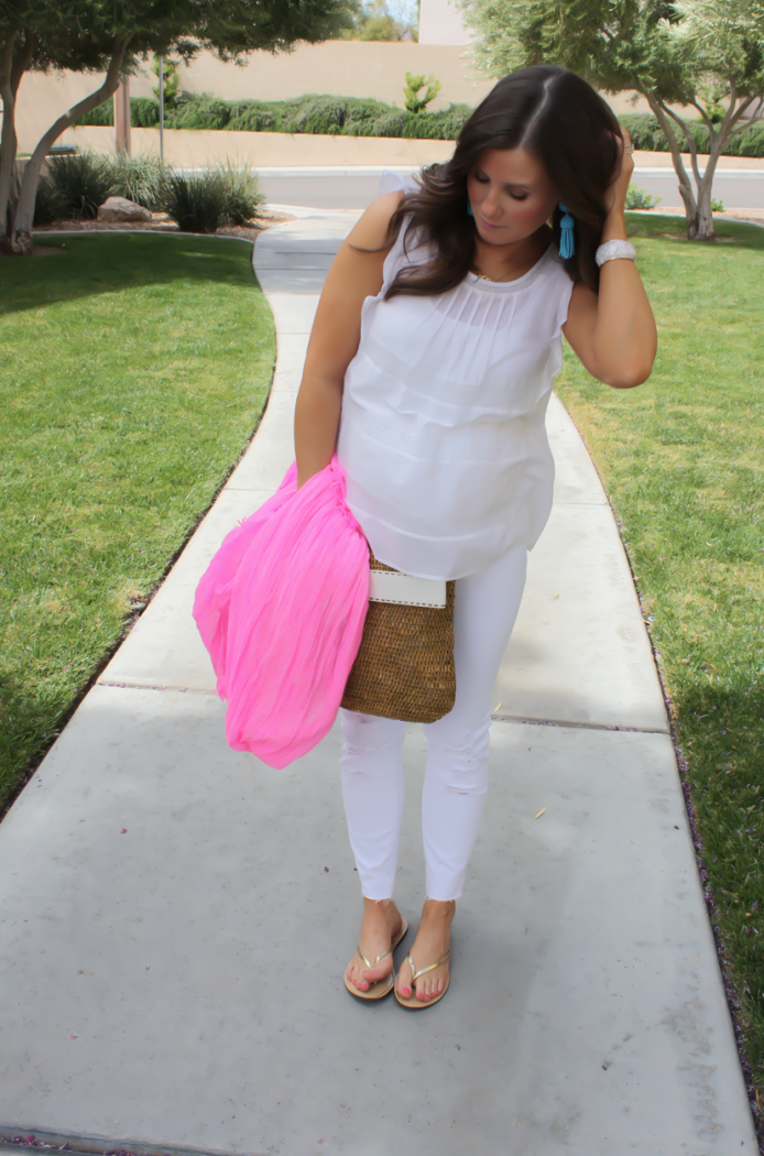 White Flutter Sleeve Blouse, Distressed White Cropped Skinny Jeans, Metallic Gold Sandals, Hot Pink Summer Scarf, White Leather Basket Clutch, Loft, J Brand, J.Crew, Michael Kors 9