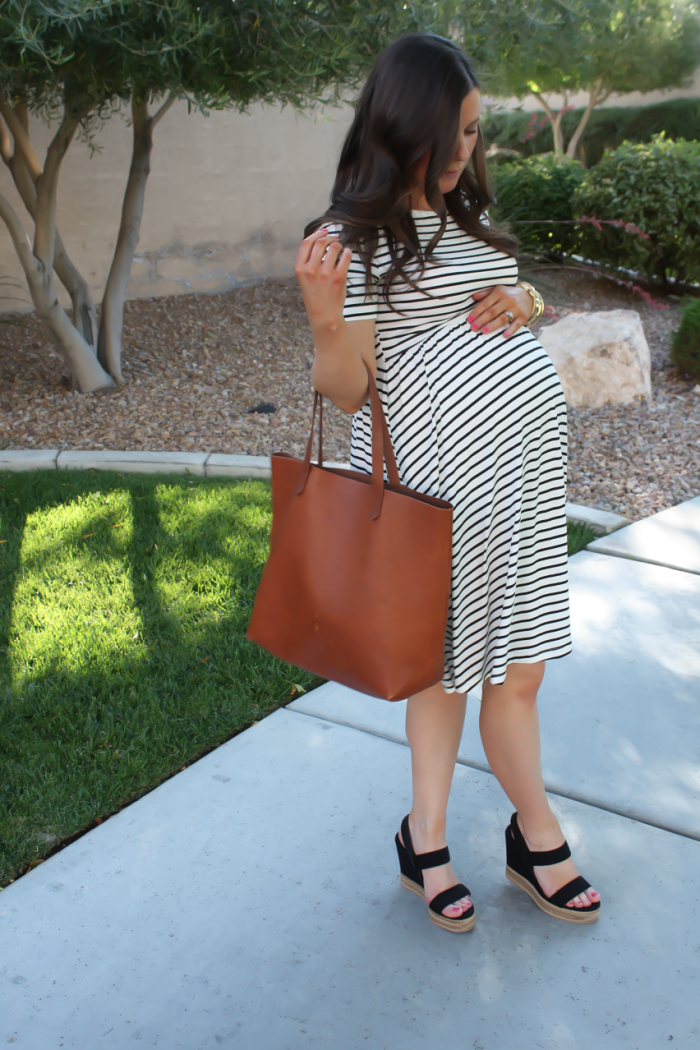 Black and White Striped Maternity Dress, Black Wedge Sandals, Cognac Leather Tote, ASOS, Tory Burch, Madewell 10