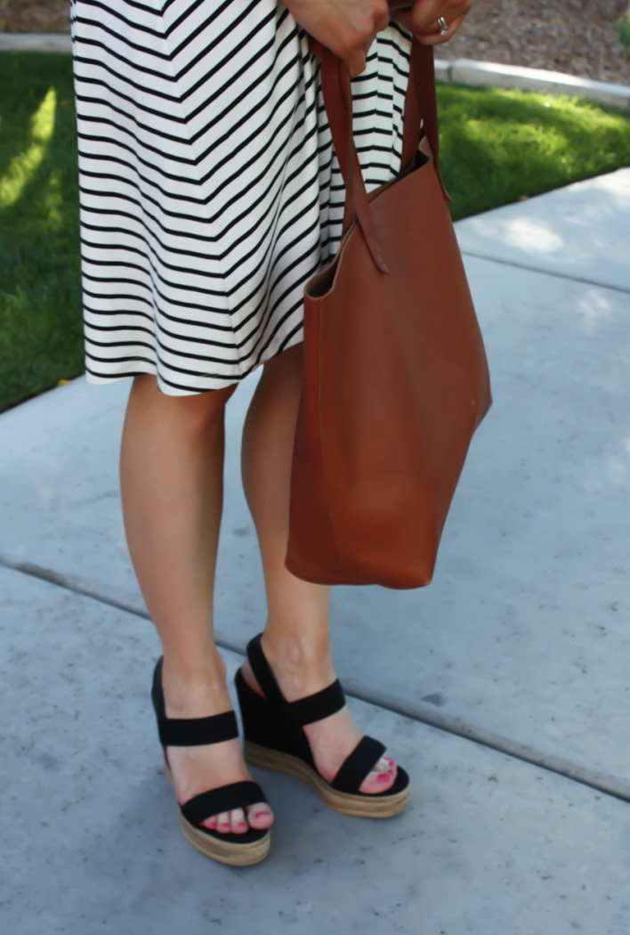 Black and White Striped Maternity Dress, Black Wedge Sandals, Cognac Leather Tote, ASOS, Tory Burch, Madewell 3
