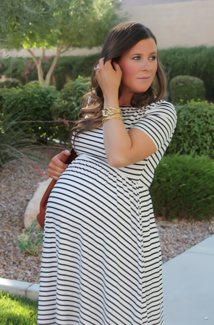 693df9bfea78f ... ASOS Black and White Striped Maternity Dress, Black Wedge Sandals,  Cognac Leather Tote, ASOS