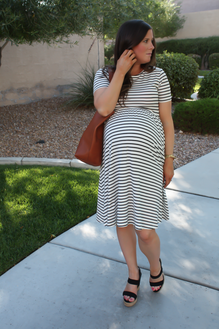 Black and White Striped Maternity Dress, Black Wedge Sandals, Cognac Leather Tote, ASOS, Tory Burch, Madewell 8
