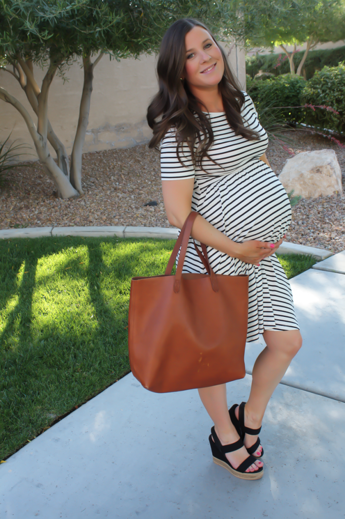 Black and White Striped Maternity Dress, Black Wedge Sandals, Cognac Leather Tote, ASOS, Tory Burch, Madewell 9