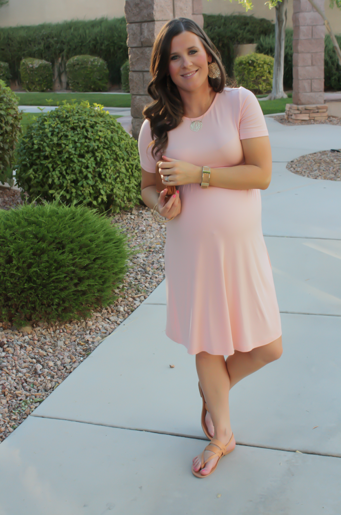 Blush Pink Maternity Dress, Tan Sandals, Cognac Clutch, ASOS, ASOS Maternity, Joie, Clare V 10