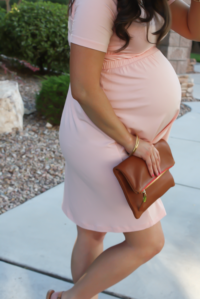Blush Pink Maternity Dress, Tan Sandals, Cognac Clutch, ASOS, ASOS Maternity, Joie, Clare V 17