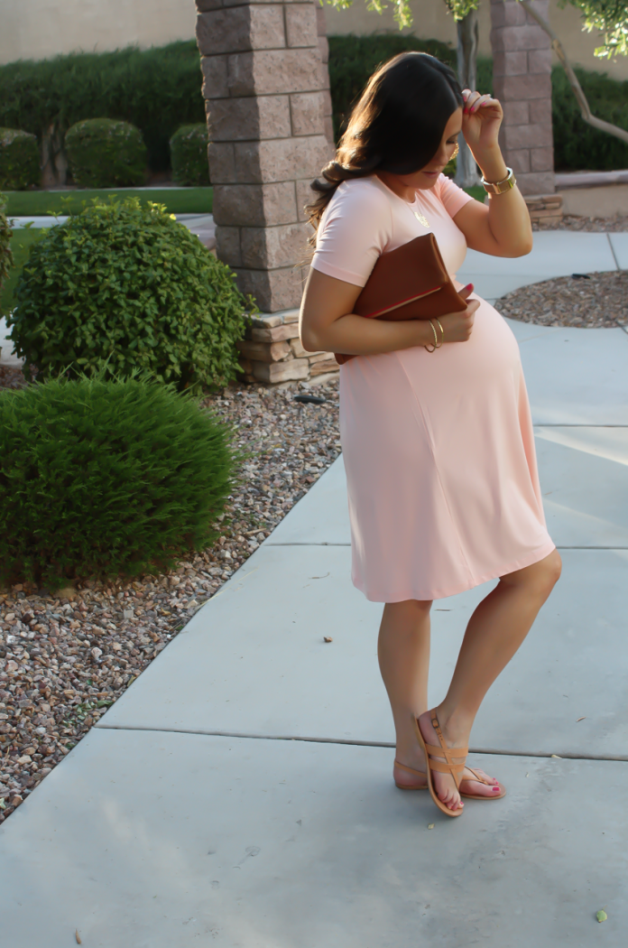 Blush Pink Maternity Dress, Tan Sandals, Cognac Clutch, ASOS, ASOS Maternity, Joie, Clare V 9
