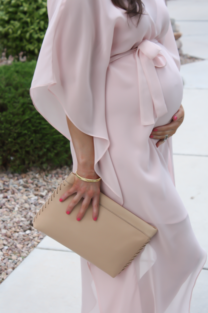 Blush Pink Silk Asymetrical Dress, Ivory Heels, Tan Leather Clutch, BCBG, JCrew 3