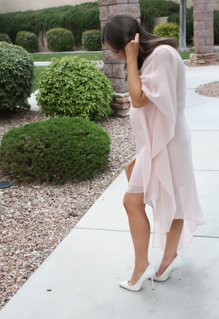 Blush Pink Silk Asymetrical Dress, Ivory Heels, Tan Leather Clutch, BCBG, JCrew 4
