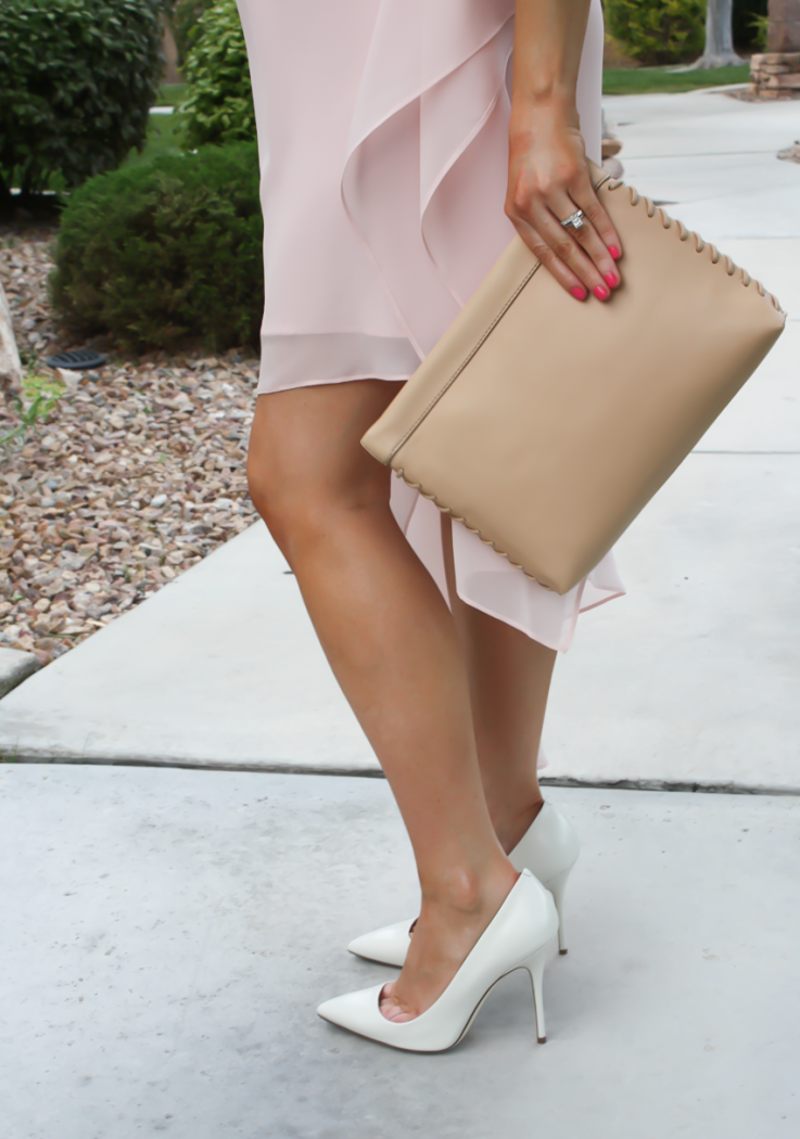 Blush Pink Silk Asymetrical Dress, Ivory Heels, Tan Leather Clutch, BCBG, JCrew 8