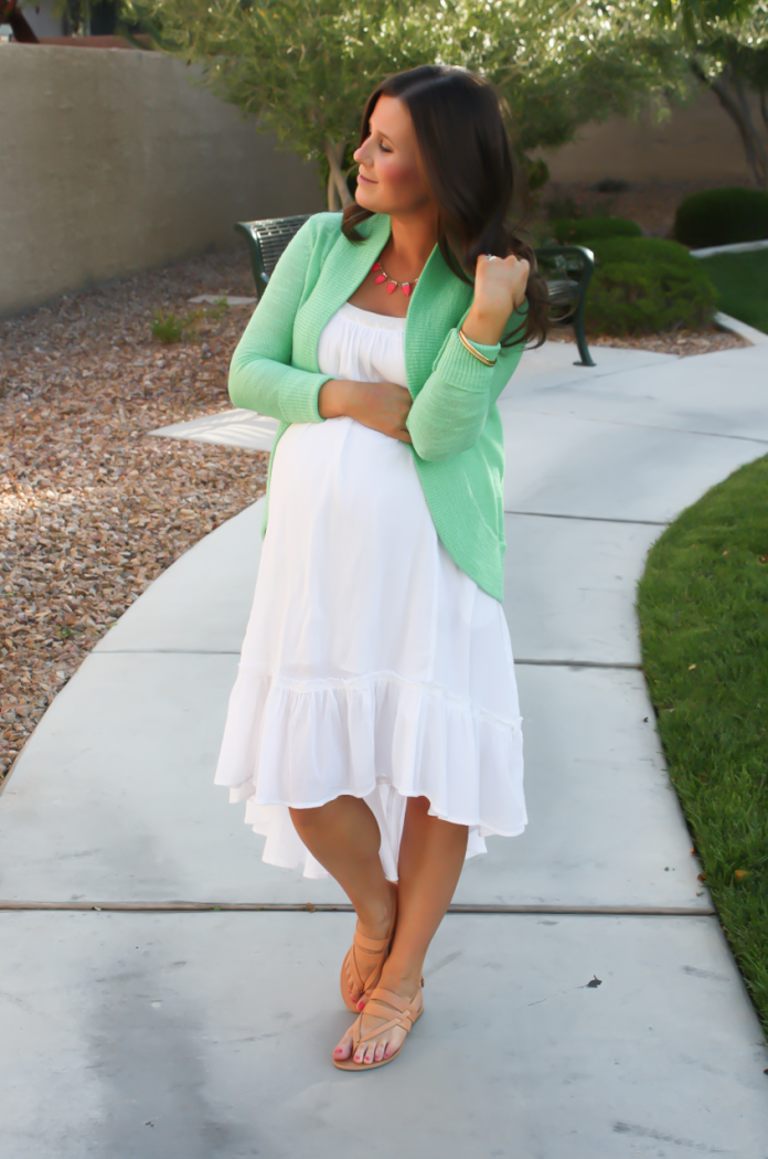 Pink and Green   Summer White Dresses