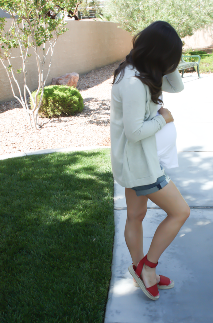 Grey Cashmere Open Cardigan, White Maternity Tank, Distressed Jean Shorts, Red Espadrille Sandals, J.Crew, Gap, Rag and Bone, Vince