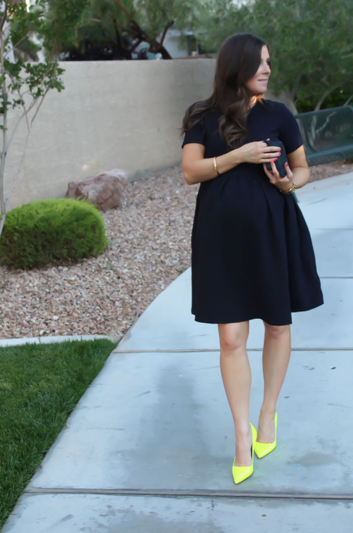 Navy Maternity Dress, Neon Green Heels, Clutch, ASOS, ASOS Maternity, Kate Spade, Clare V 16