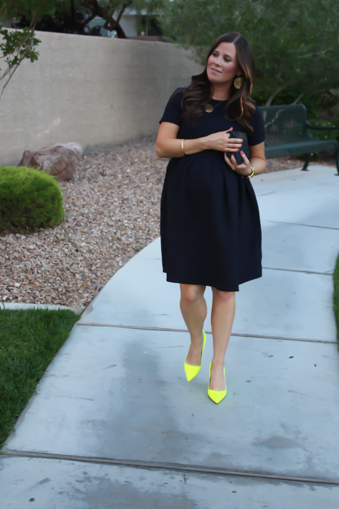Navy Maternity Dress, Neon Green Heels, Clutch, ASOS, ASOS Maternity, Kate Spade, Clare V 20