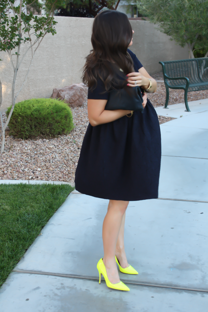 Navy Maternity Dress, Neon Green Heels, Clutch, ASOS, ASOS Maternity, Kate Spade, Clare V 4
