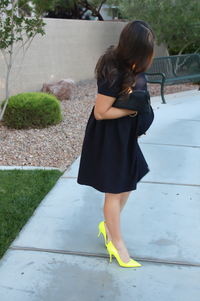 Navy Maternity Dress, Neon Green Heels, Clutch, ASOS, ASOS Maternity, Kate Spade, Clare V 7