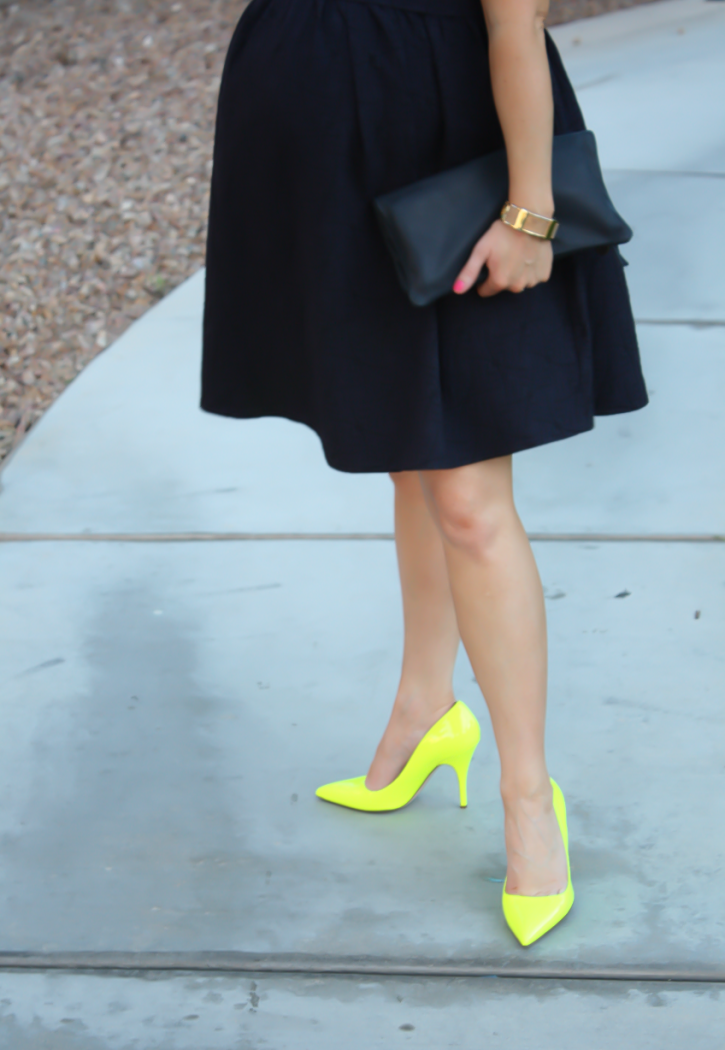 Navy Maternity Dress, Neon Green Heels, Clutch, ASOS, ASOS Maternity, Kate Spade, Clare V 9
