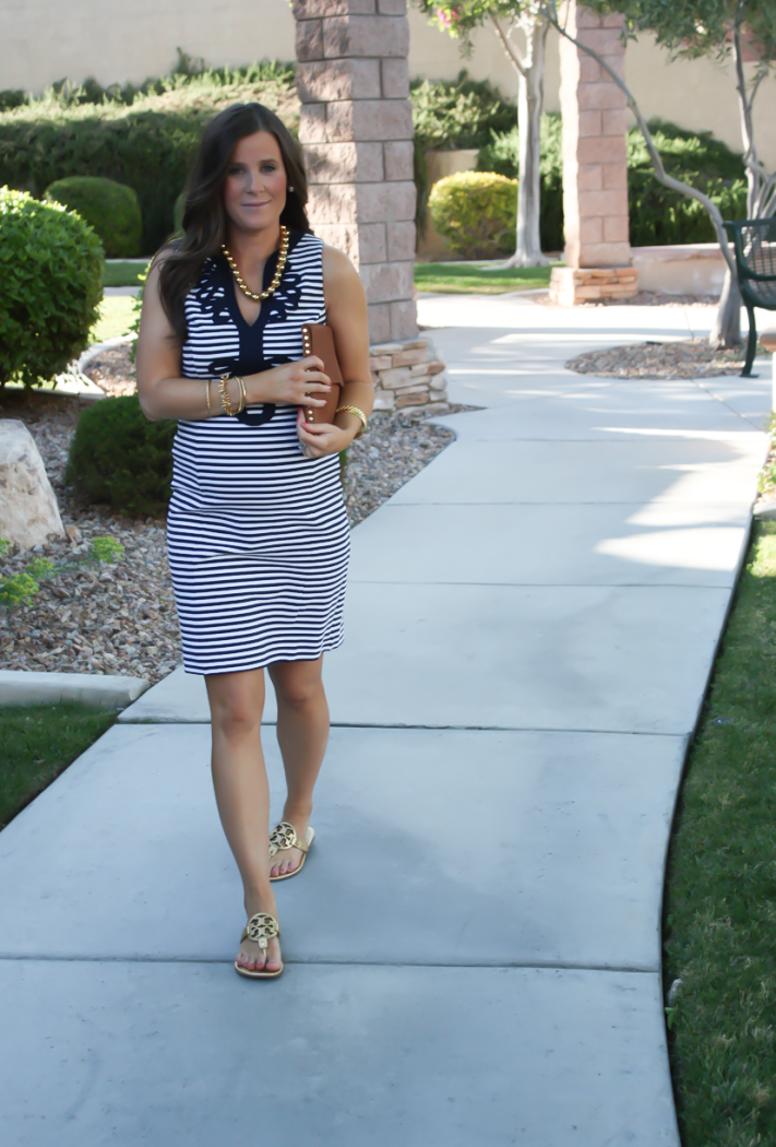 a577b345a616 ... Navy Striped and Embroidered Knit Shift Dress