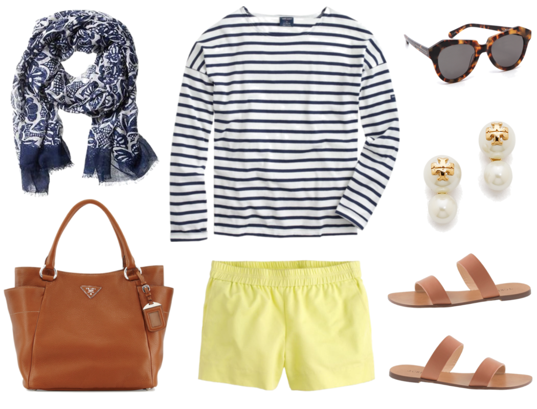 Navy Stripes and Yellow Shorts