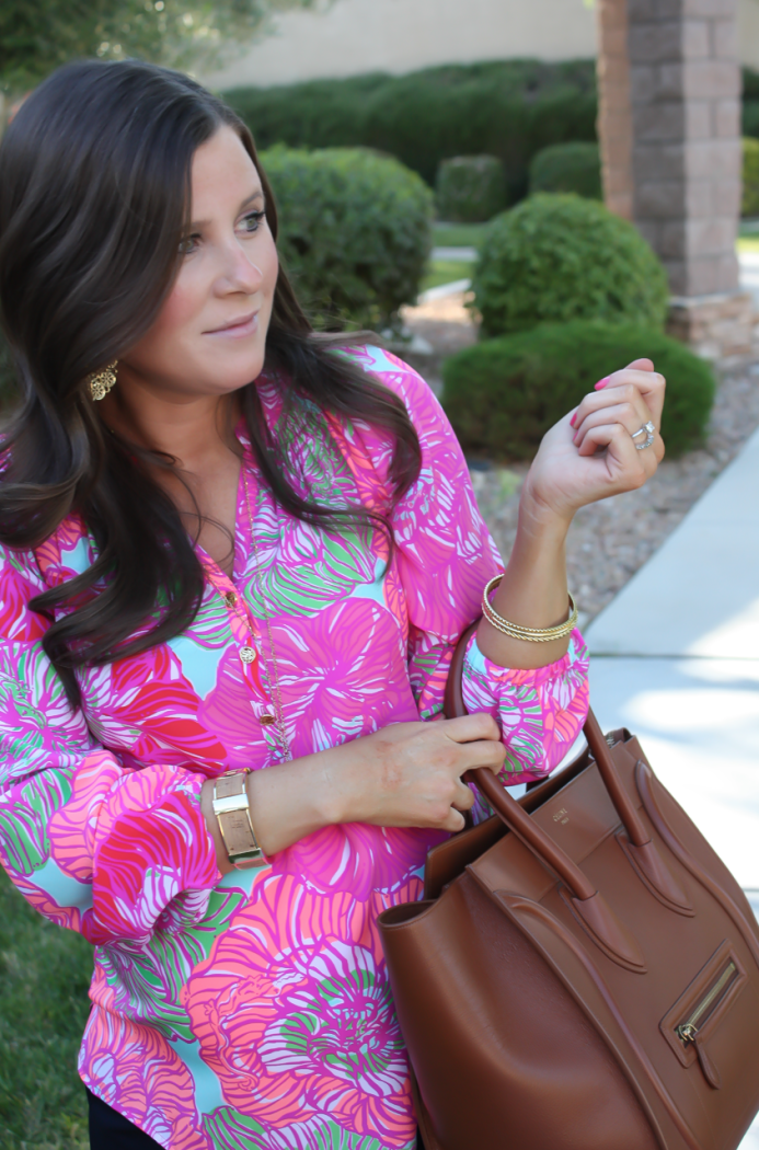 Pink Printed Silk Blouse, Navy Shorts, Brown Leather Tote, Brown Sandals, Lilly Pulitzer, J.Crew Factory, Celine, Tory Burch 10
